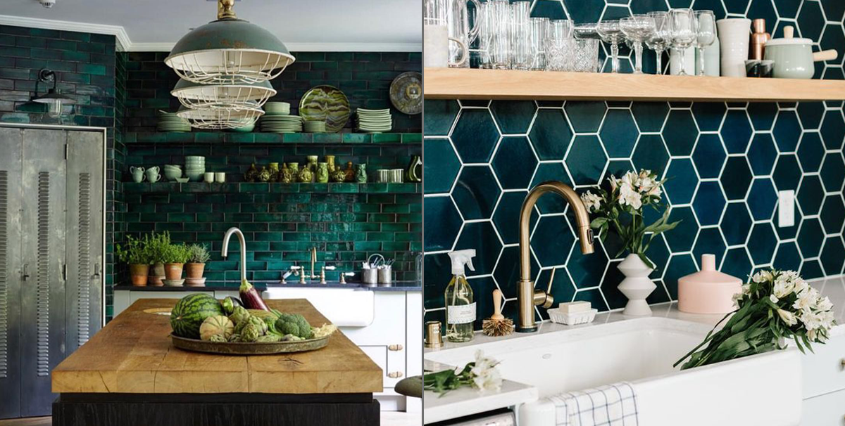 Cozinha Verde Escuro Ladrilhos