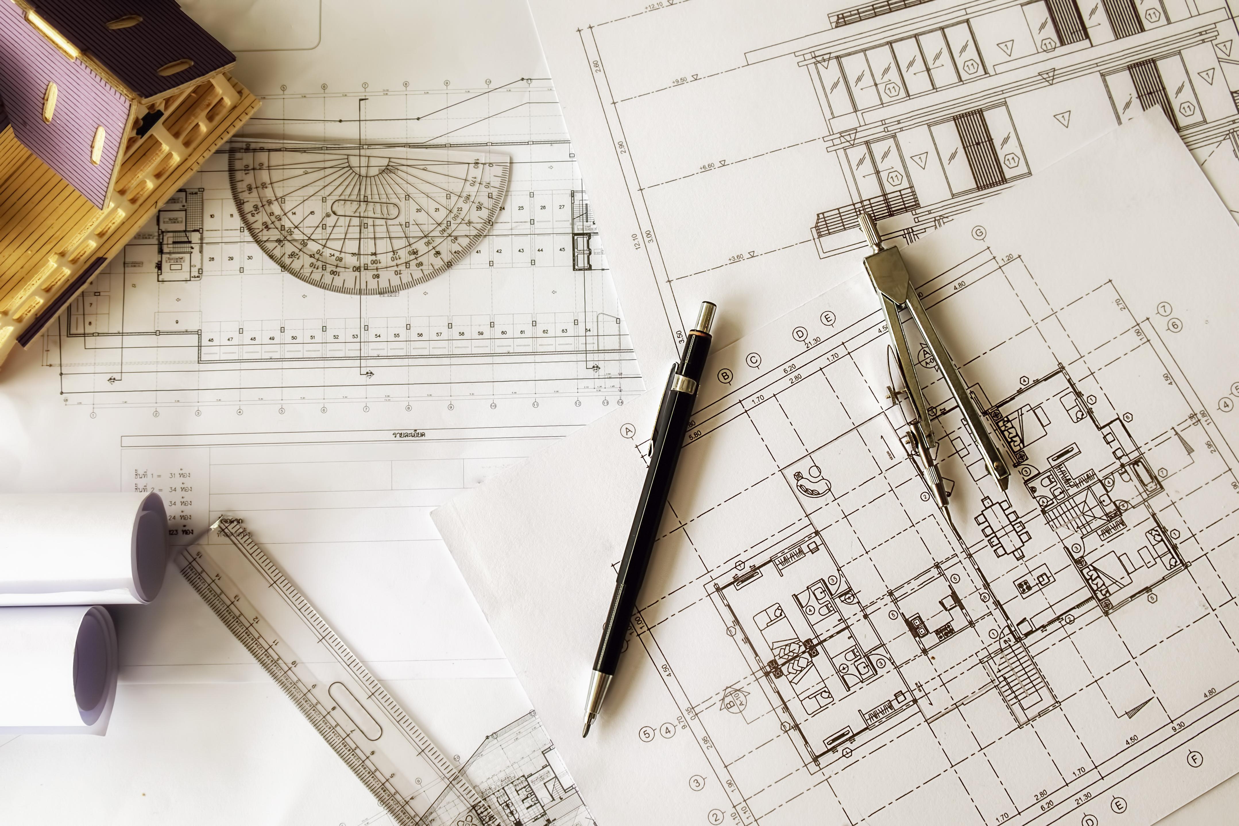 Planta Baixa Casa Papel Mesa de Trabalho Projeto