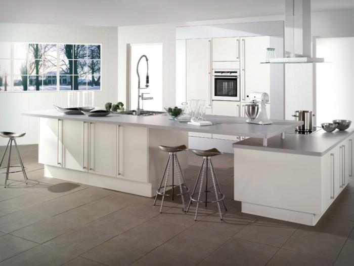 Cozinha Planejada Sofisticada Bancada Dupla Branca Clean