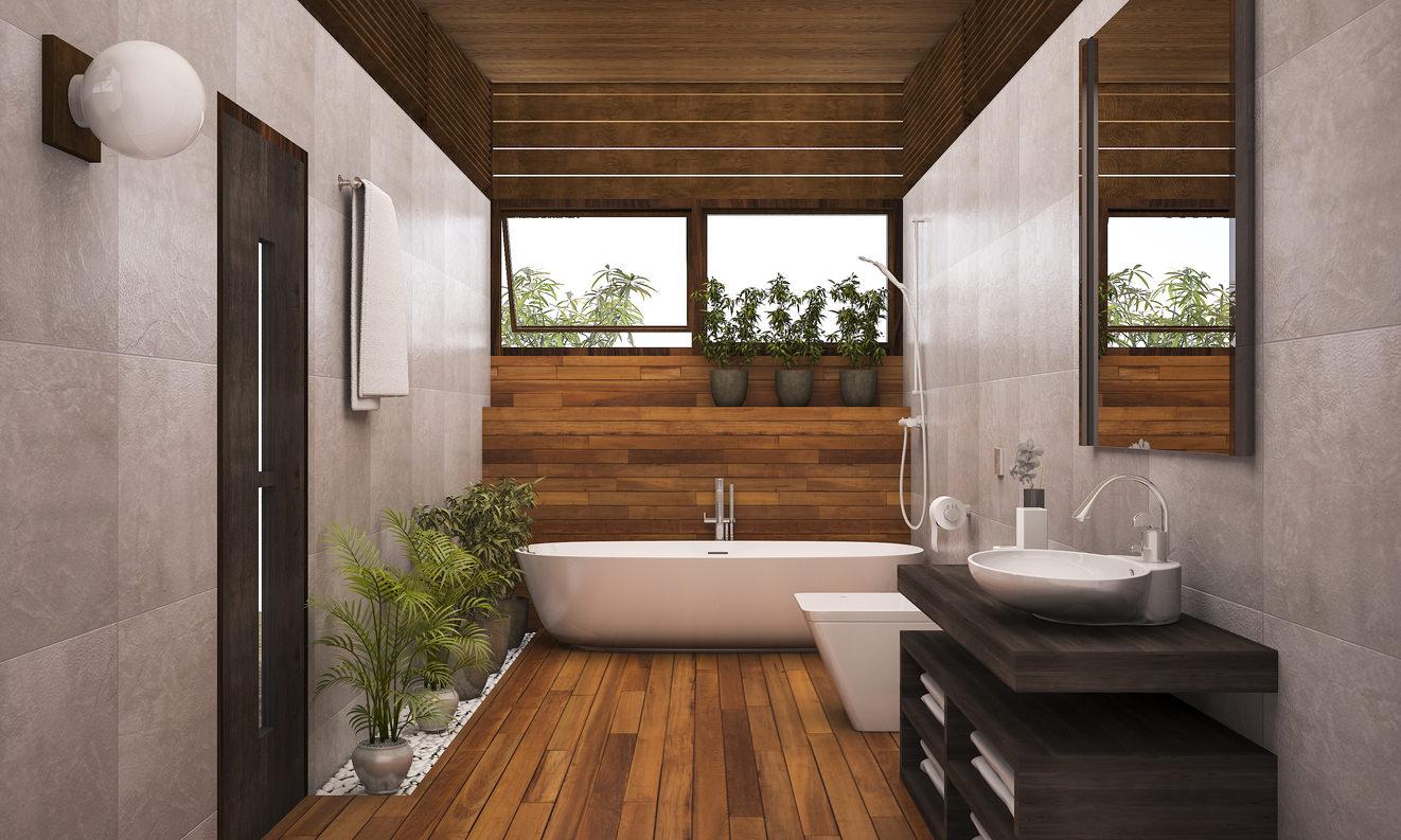Design Biofílico Plantas Verde Decoração Banheiro