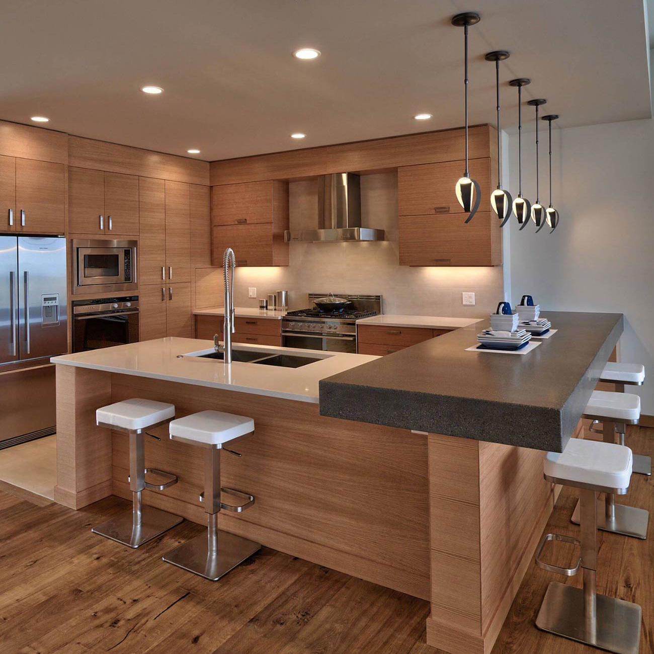 Cozinha Planejada Sofisticada Madeira Bancada Pedra