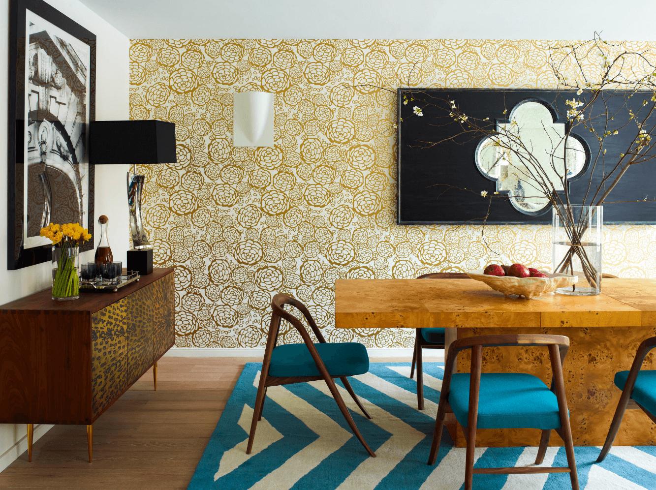 Casa Papel de Parede Decoração Flores Dourado Vazado