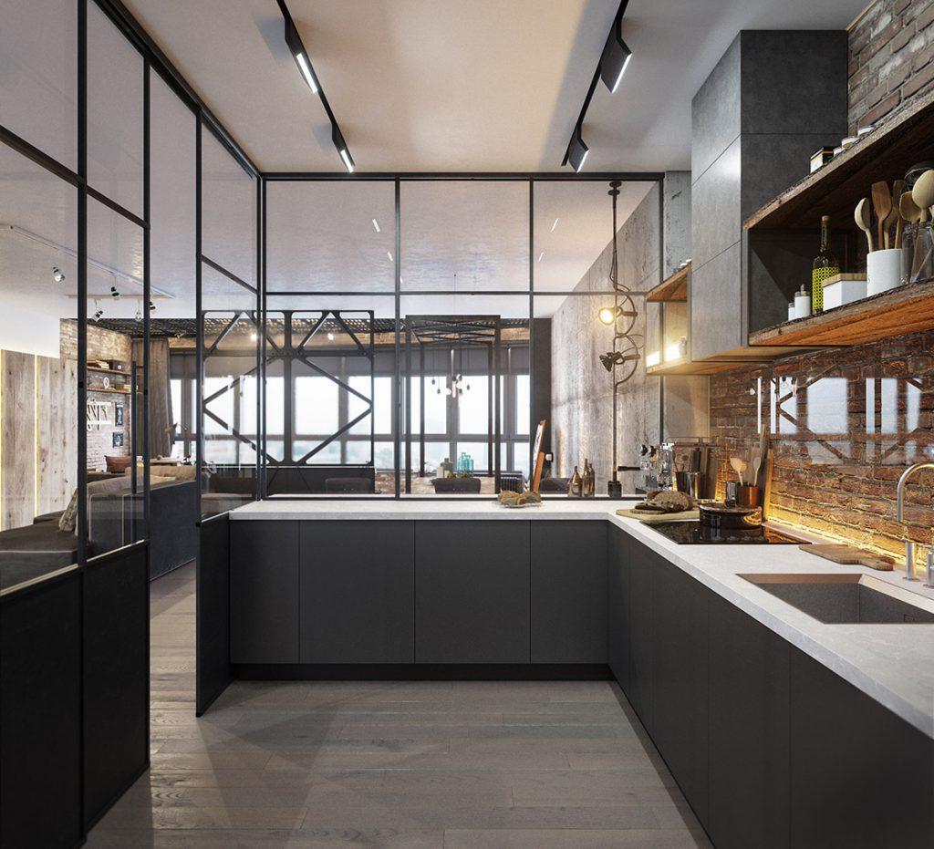 Casa Decoração Estilo Industrial Cozinha