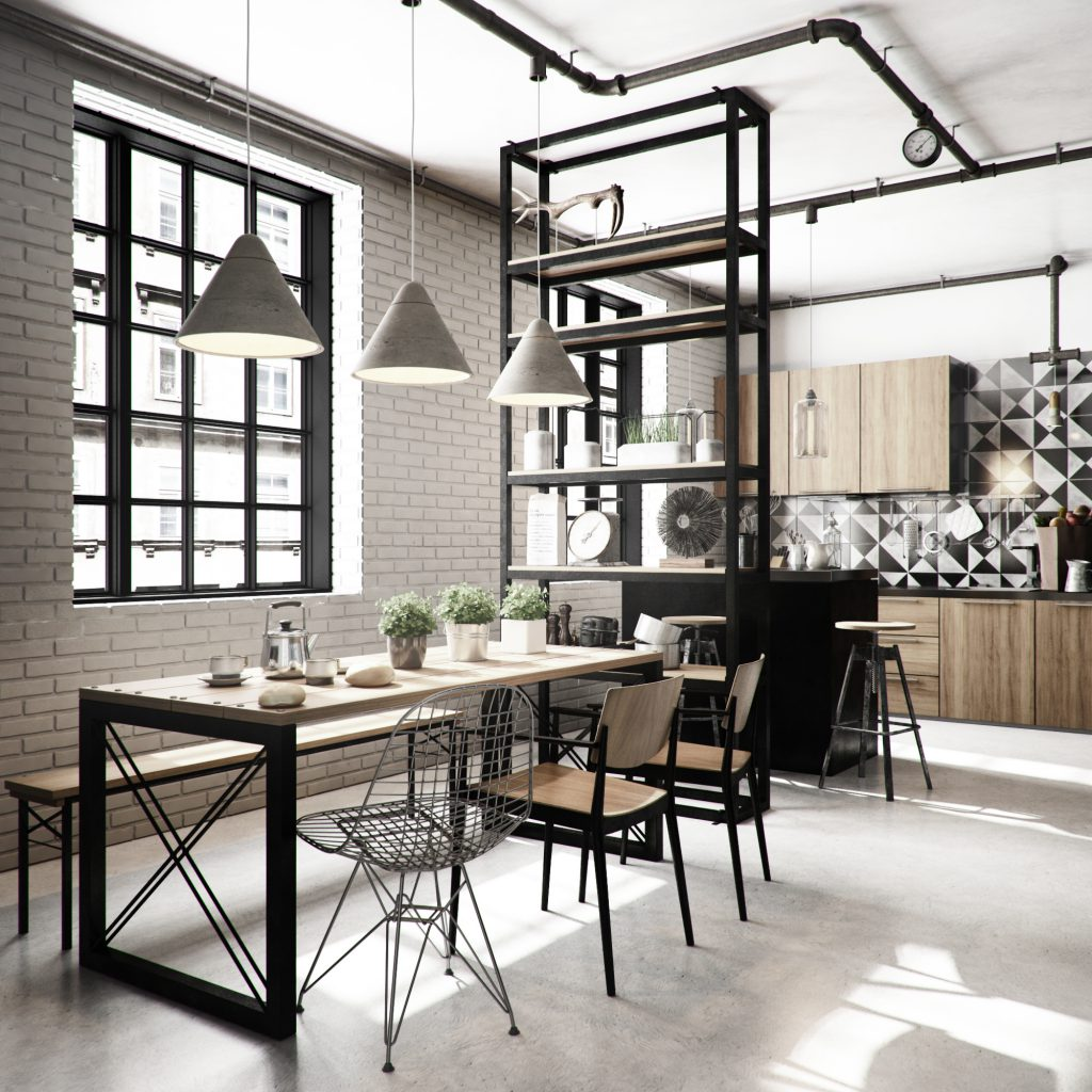 Casa Decoração Estilo Industrial Cozinha Jantar Mesa Integrado