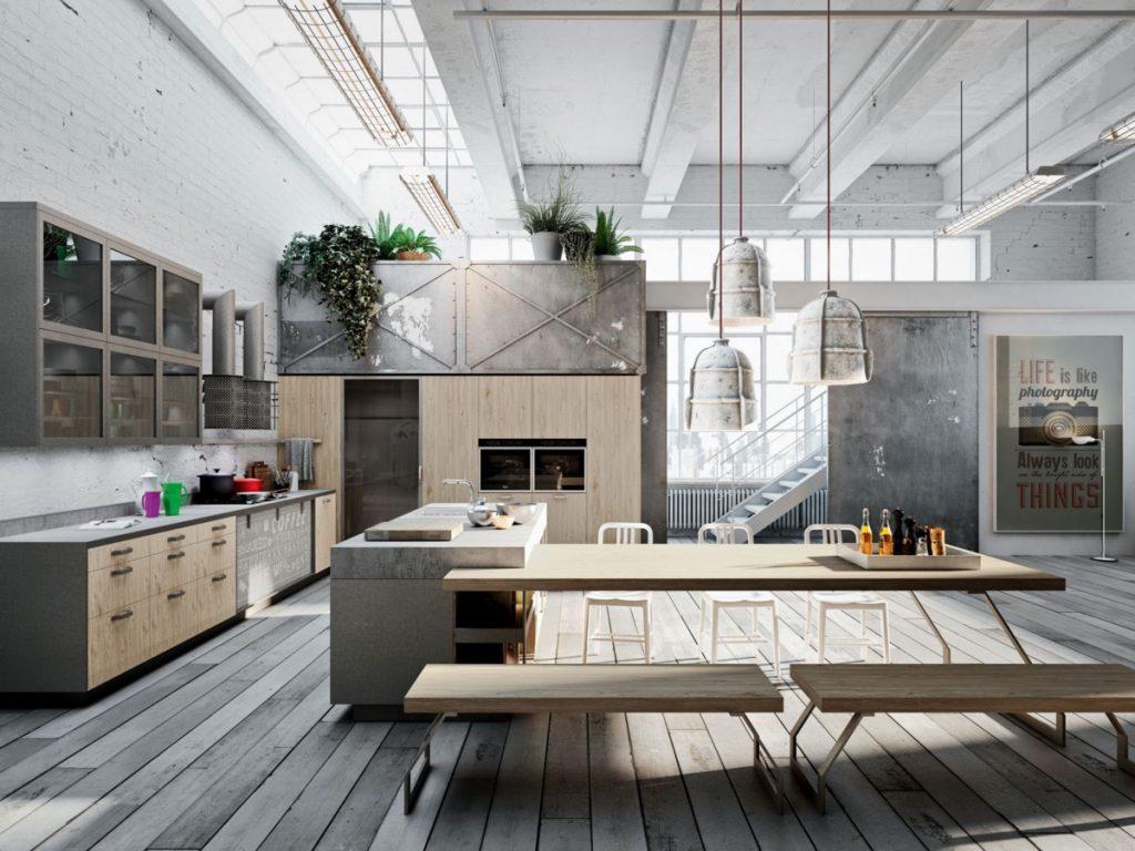 Casa Decoração Estilo Industrial Cozinha Mesa Sala Armazém
