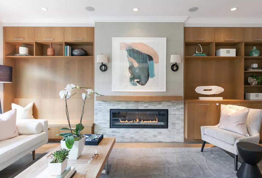 sala com lareira moderna