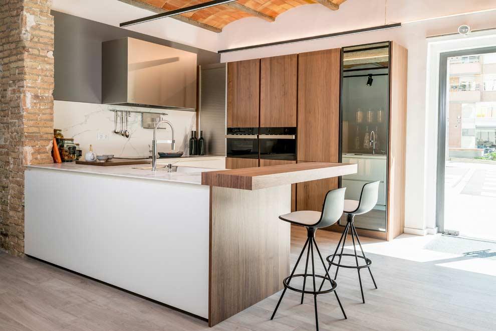 cozinha moderna industrial bege cinza