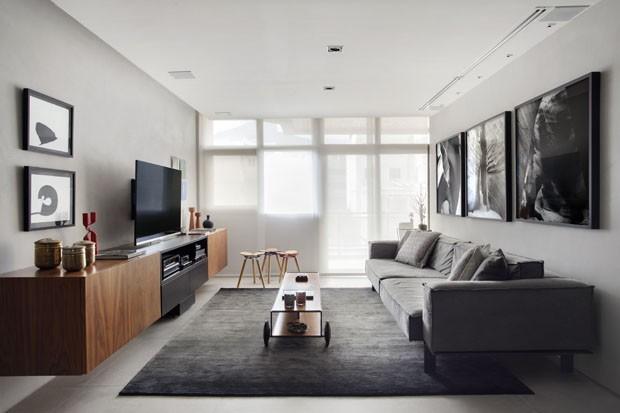sala cinza moderna