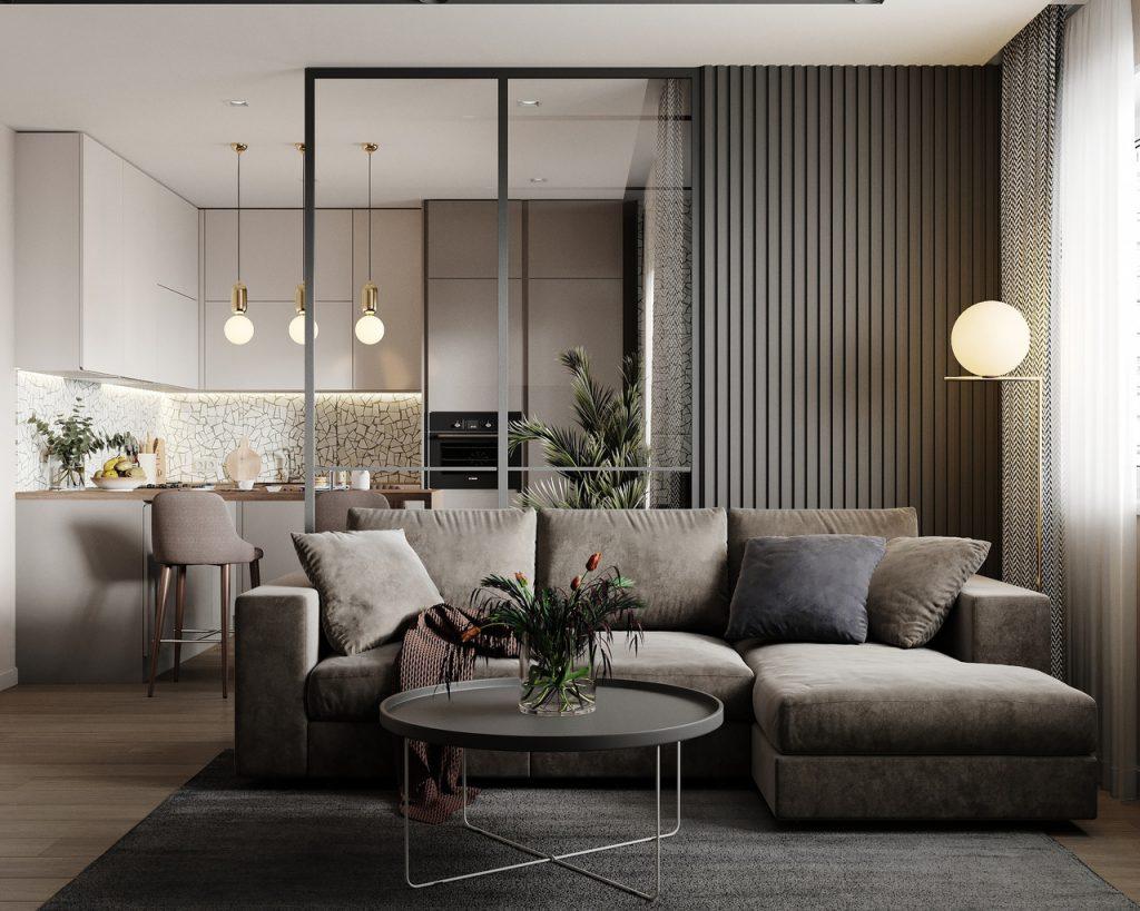 sala linda sofa cozinha cinza