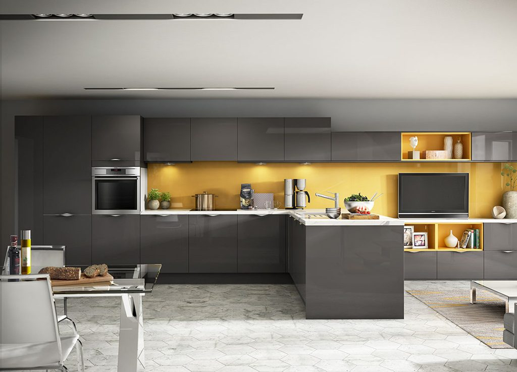 cozinha moderna cinza amarelo