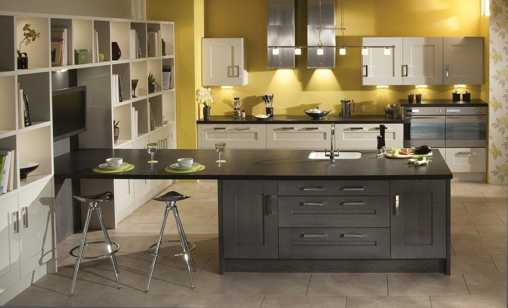 cozinha planejada amarela cinza