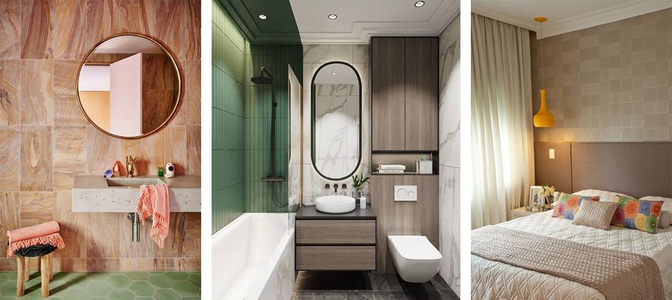 montagem banheiro quarto cinza nude bege cores verde